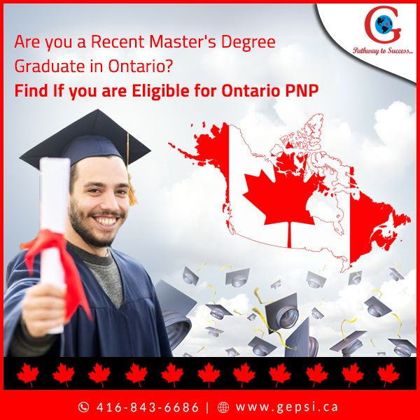 """""""Ontario PNP"""" offers an opportunity for students with a Master's degree obtained in Ontario, to live and work permanently in Ontario. Consult us to find if you are eligible for Ontario PNP.  http://gepsi.ca/services/canada/immigration  #GepsiImmigration #ImmigrationConsultant #OntarioPNP #Canada"""