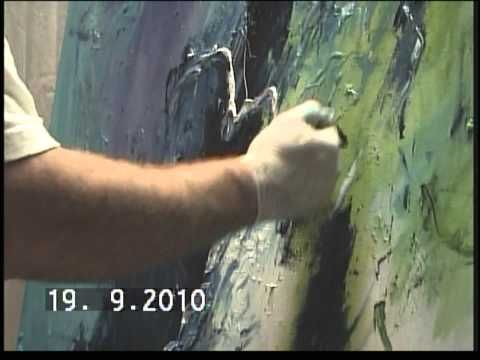 Live Painting ( Abstract expressionisme ) with guitar music: Ton Hasenaar & Hans Domevscek - YouTube