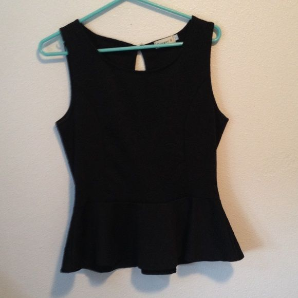 Black peplum top Black peplum top, never worn only tried on Ginger G Tops Blouses