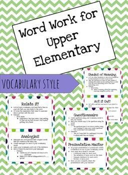 Word Work for Upper Elementary! This focuses on vocabulary and creating a deeper understanding of the words. Great for daily 5, centers, word work, whole class!