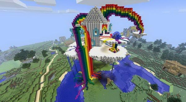 minecraft rainbow house 2 http://hative.com/cool-minecraft-house-designs/