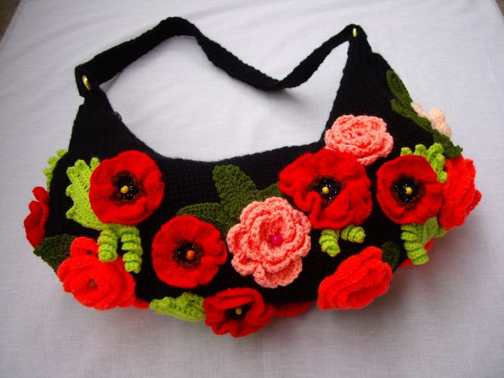 Crochet handbag with roses and poppiesHandmade art by GalyaKireva, $55.00