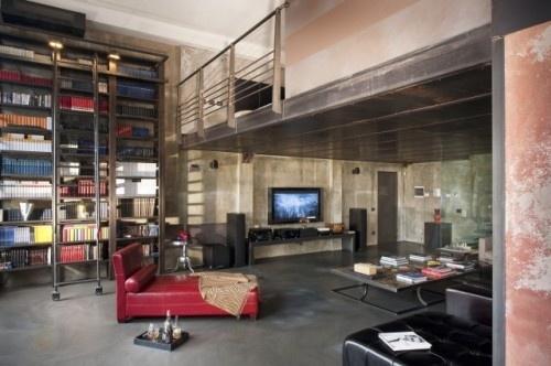 loft modern living room: Libraries, Modern Living Rooms, Idea, Industrial Living Rooms, Interiors Design, Interiordesign, Industrial Design, Man Caves, Loft Design