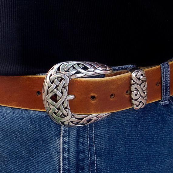Men's Leather Belt Rustic leather belt Buckskin color by JeansBelt