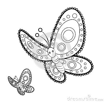 Cute butterfly mandala for adult anti stress coloring page, isolated on white background.