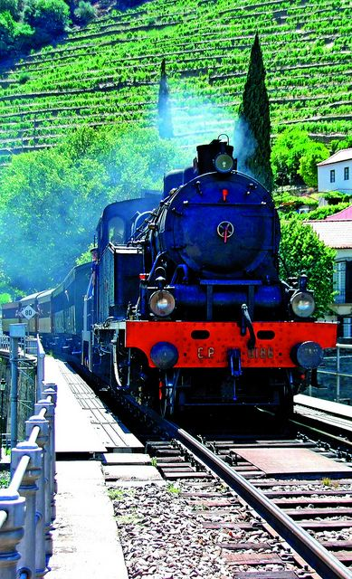 Historical steam engine train at #Douro Valley #Portugal