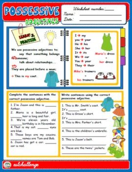 possessive adjectives exercises pdf with answers english teaching worksheets possessive. Black Bedroom Furniture Sets. Home Design Ideas