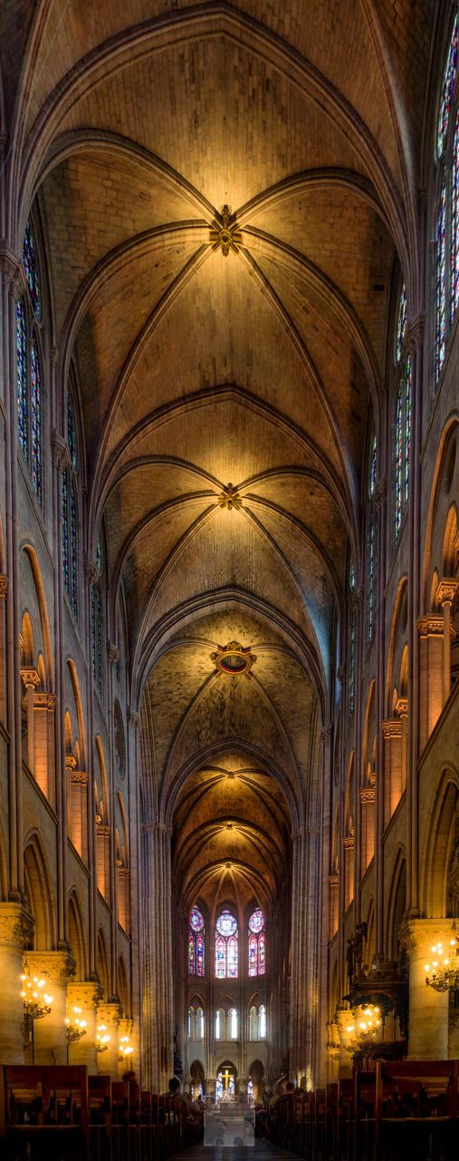 """Panorama of the inside of Cathédrale Notre-Dame. - Panorama of the inside of Notre Dame Paris.  This was taken with Pixel shift technology on my Pentax K1 to encompass all the details. THen Run through Aurora HDR Pro.   I try to post daily. My main interest / body of work is Landscapes, but also Street Photography. If you would like to have a license for one of my images, or just a chat look me up at my website. <a href=""""http://bit.ly/1YxAgaB"""">www.bartrosfotografie.nl</a> or on <a…"""