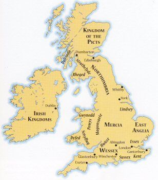 British Isles at the time of Alfred the Great. Parts of Romanized England were Christianized since Apostolic times.