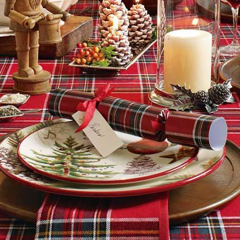 Tartan plaid -- tablescape from Williams-Sonoma ; I was already doing this with some Scottish Stewart tartan I got at a garage sale in Minneapolis, 5 yards for $2.00.