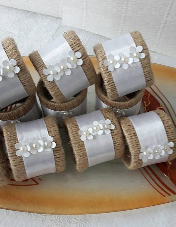 Wedding Centerpiece setting, 12 Napkin Rings and Candle Holder, Wedding Bridal Shower Napkin Rings, Wedding napkin rings, Rustic Table setting Napkin Rings, napkin rings wedding, wedding Eco Friendly decor, Twine, sattin ribbòn and pearls napkin rings, Rustic Centerpiece decor, Favor