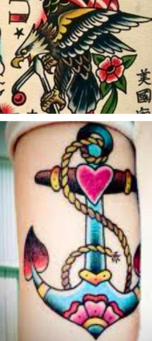This is it! Mix them together & this would most likely be my one & only tattoo. The rope would have to be a string of pearls & we need a rose in there somewhere maybe. It would have to go on my side. American traditional tattoos! Love them
