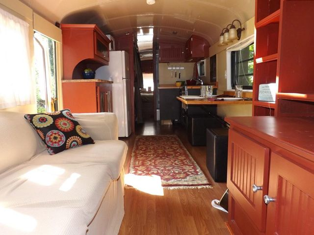 Tiny House on Wheels School Bus Conversion campingtiny living