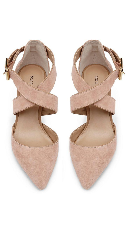 Blush criss cross heels