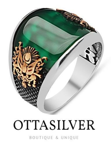 fac5473042 Turkish Ottoman EMERALD Agate Stone 925 K Sterling Silver Mens Ring All size