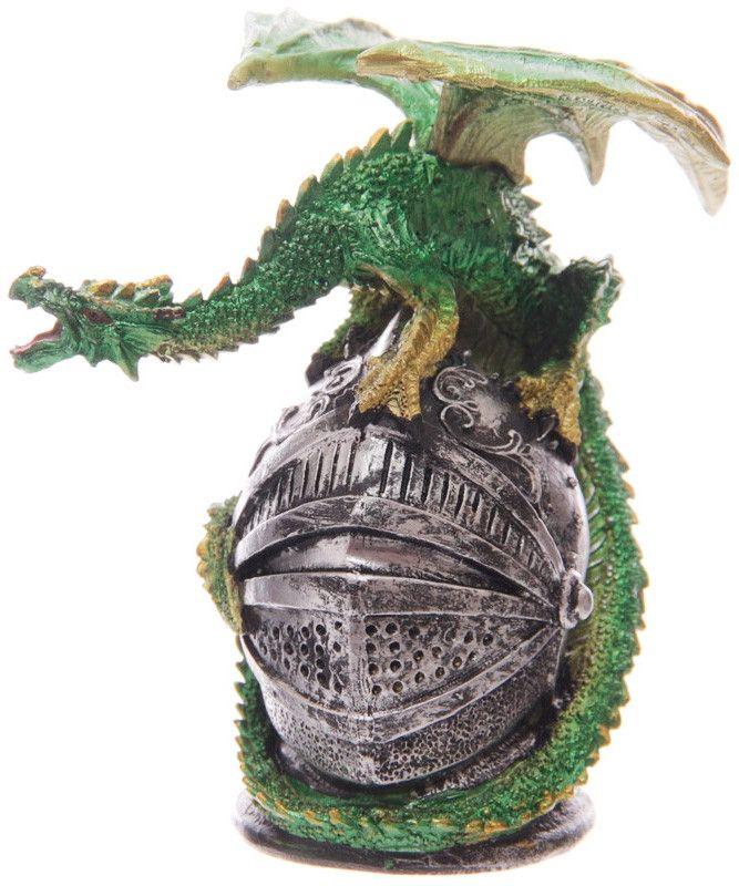 Dragón Verde sobre Yelmo  #fantasia #fantasy #gotico #rock #metal #decor #decoracion #gothic #xtremonline
