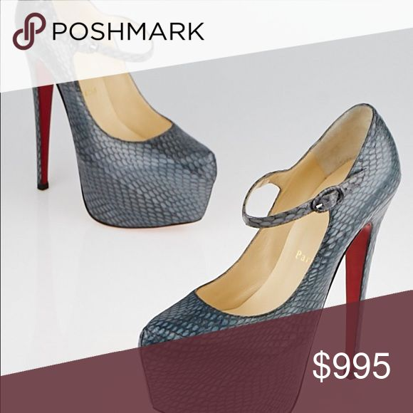 NIB Christian Louboutin Lady Daffodile 160 Cobra Brand new in box. No dustbag. Purchased from Nordstrom's. Size EUR 40.5, run small as all Loubs do. Would best fit a 9. Lady Daffodile 160 Cobra. Originally $1495! Please see pictures that show minimal rubbing on python pattern. Not noticeable unless up very close. Also see extra listing with more pictures. Christian Louboutin Shoes Heels