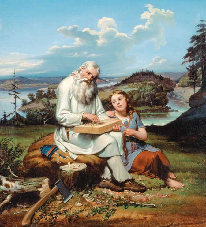 Johan Blackstadius (1816-1898) painted his vision of Väinämöinen while he is placing strings to his Finnish zither. #Väinämoinen #Kalevala #Finnish #Zither