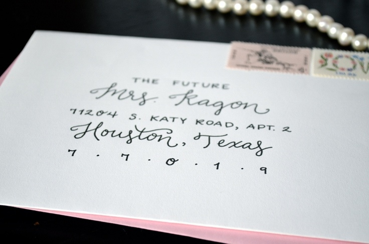 Save the Date Envelope Lettering - Black and Light Pink - One Charming ...