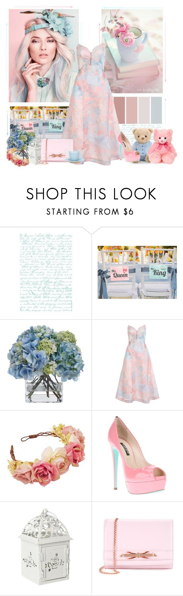 """Pretty in pink, beautiful in blue"" by paper-cloud ❤ liked on Polyvore featuring Diane James, Zimmermann, Ruthie Davis, Ted Baker, Pink and Blue"