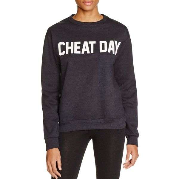 Private Party Cheat Day Printed Sweatshirt ($63) ❤ liked on Polyvore featuring tops, hoodies, sweatshirts, black, holiday party tops, party tops, night out tops and going out tops