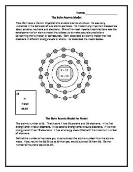 This sheet give a brief explanation of the Bohr model with three energy levels.  There are then eight examples that students will complete by placing the electrons in the proper energy levels.  The atomic number and atomic mass are given.  The elements are:  Lithium Nitrogen Oxygen Neon Carbon Beryllium Sodium Aluminum  This would be a good in class warm-up activity.