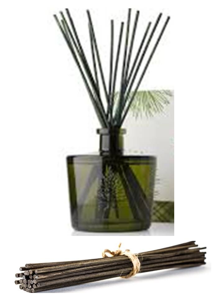 I make my own essential oil reed diffusers. It's simple. All you need is a glass container with a narrow opening (to slow evaporation), 1/4 cup of a light oil like sweet almond or safflower oil, 15-20 drops essential oil, 2 Tbsp of alcohol to help oils travel up reeds (vodka works great), and reed sticks. Flip sticks every few days to refresh scent. click photo to get these great brown reed diffuser sticks