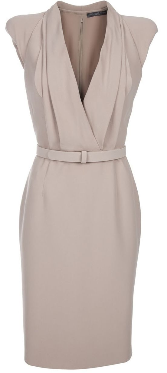 Taupe McQueen faux wrap pencil dress with shawl collar neckline