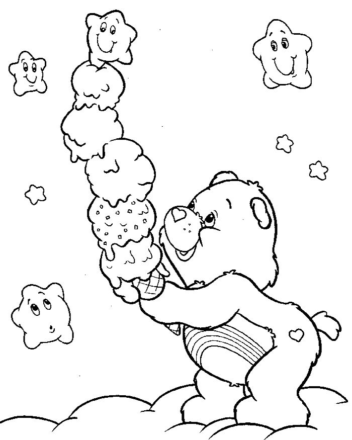 Care Bear With Ice Cream Coloring Pages