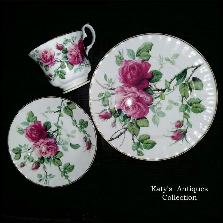 Vintage ROY KIRKHAM ENGLISH ROSE TEA CUP, SAUCER & PLATE, PINK ROSES, English Porcelain.