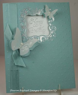 so gorgeous stampin up elementary elegance / Stamps: Elementary Elegance (Sale-A-Bration 2013 ) Punch: Curly Label Big Shot: Perfect Polka Dots TIEF and Beautiful Wings embosslit Ribbon: Baja Breeze seam binding Extras: Basic Pearls, Silver embossing powder
