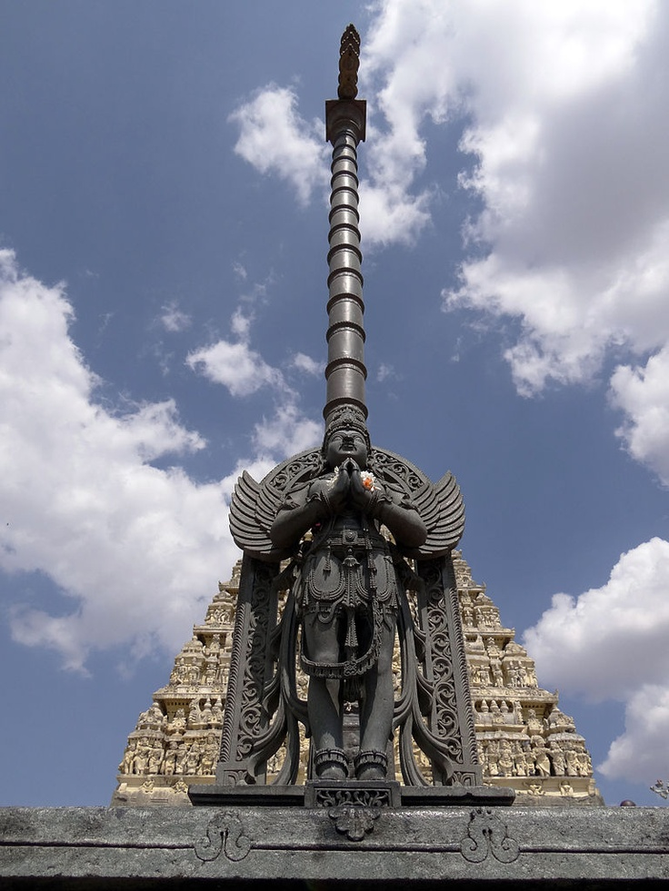 This is the statue of Garuda that stands opposite to the Chennakeshava temple at Belur. This statue, along with Garuda sthamba was erected during the Vijayanagara empire. Garuda is the sacred steed of lord Vishnu and you can see the statue of Garuda in all the temples dedicated to lord Vishnu.