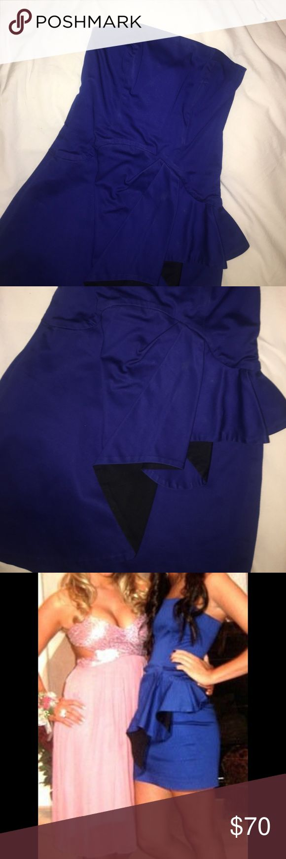 French Connection Blue Dress with Black Ruffle French Connection Blue Dress with Black Ruffle. Size 0. Worn once. Perfect for any evening occasion or wedding! French Connection Dresses Mini