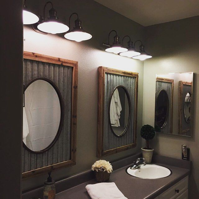 rustic wood framed bathroom mirror now creative oval mirrors tin roof framing sink thanks sharing diy frame