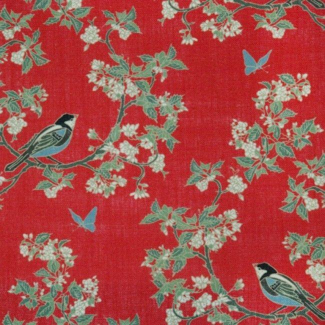 Emily Burningham Bird In Blossom Chinese Red Linen