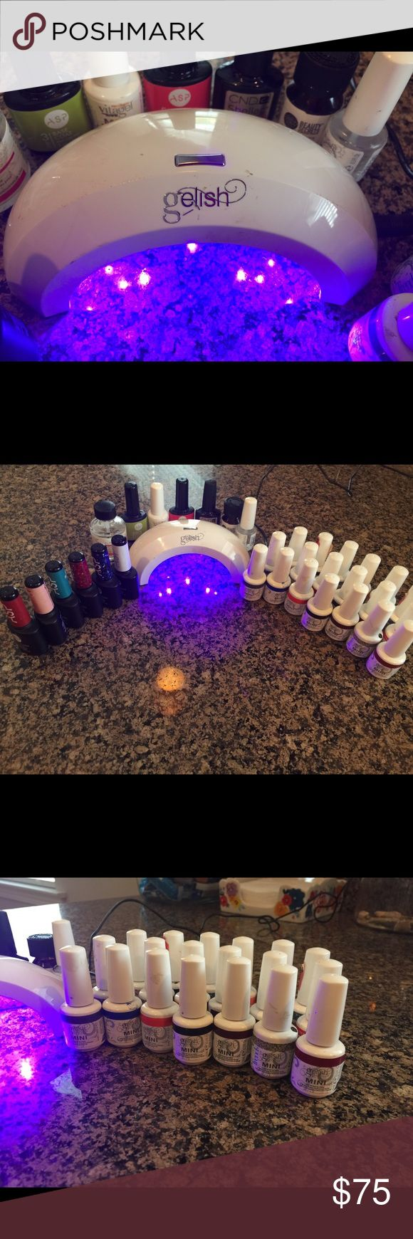Gelish LED curing lamp with 32 products! Exact same product used in salons! All products purchased at Sally's Beauty! Manicure lasts 3 weeks! 6 ASP colors, 19 Gelish colors, Prep B-4, ASP baseball and top coat, Gelish nail strengthener, CND Shallc base coat, Acid Free primer, and Gelish pH bond! So many beautiful colors from neutrals to neon and even some glitter ones for accent nail! Tons of product left in polishes...each only used one or twice! Gelish Other