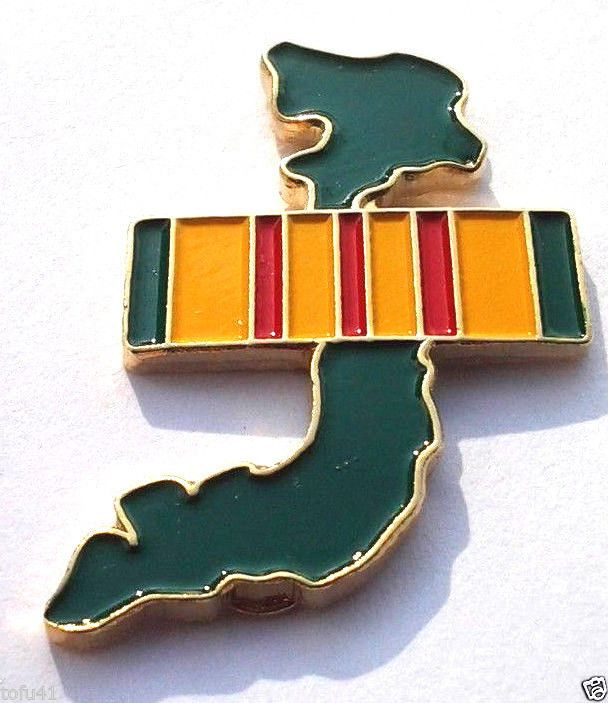 *** VIETNAM MAP & SERVICE RIBBON ***  Military Veteran Hat Pin P14924 EE