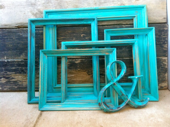 set of 5 large vintage wood frames painted teal and distressed and 1 ampersand wedding decor wall ideas vintage and vintage wood