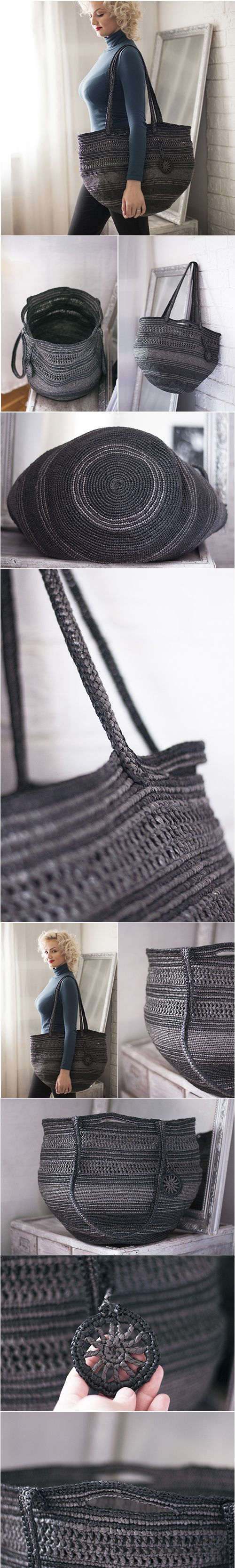 Rustic Plarn Tote Bag, Big Large Eco Friendly Upcycled, Silver Holdall, Black and Gray, Metalic Bag, Handbag Plarn Tote Bag, Crochet Tote, #frombabushkashop, upcycling, recycling