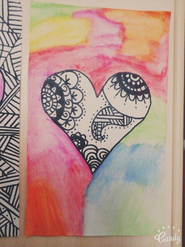Lindo cuadro con acuarelas y zentangle art!