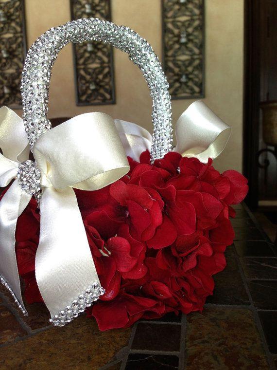 custom red flower girl basket by TheCrystalFlower on Etsy