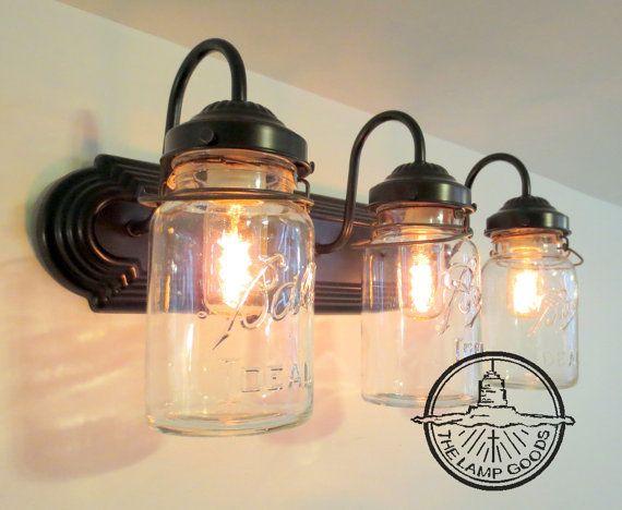 Bathroom Lights Etsy 202 best mason jar lights images on pinterest | mason jar lighting