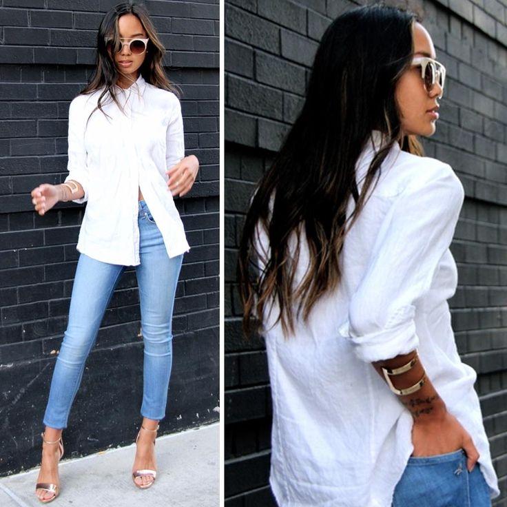 Продолжаем серию деловых образов недели классическим сочетанием голубых джинсов и белой рубашки. В этот раз светло-голубые скинни DL1961, известные своим комфортном и идеальной посадкой. Согласитесь, в этом можно пойти не только на работу.