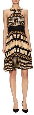 Tracy Reese Silk Criss Cross Printed Flare Dress