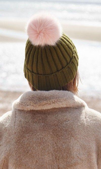Olive Bobble Hat