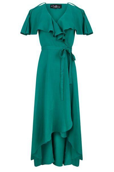 Bannou louise waterfall dress jade Direct leverbaar uit de webshop van www.ilovevintage.nl/ green groen maxi jurk