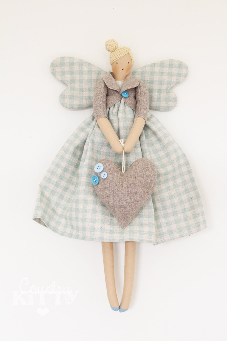 Fairy angel doll in grey, ivory and light turquaise blue shades with little roses fabric and wool heart