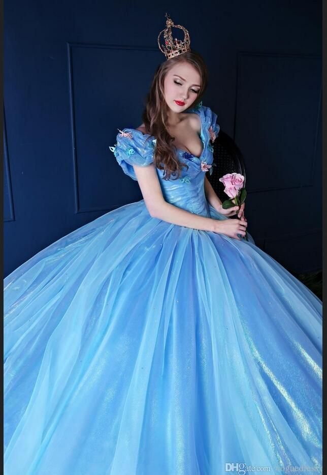 Hot Dresses 15 Years Sky Blue Cinderella Quinceanera Dresses With Butterfly Puffy  Corset Masquerade Ball Gown Debutante Dress abd42277f75f