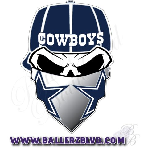 Dallas Cowboys Skull With Bandana Nfl Football Sticker