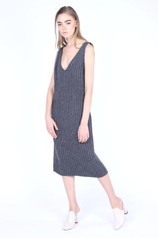 Low Plunging Neck Rib Midi Pinafore Dress